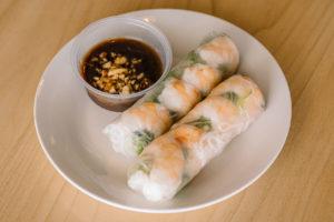 pho spoon shrimp spring rolls